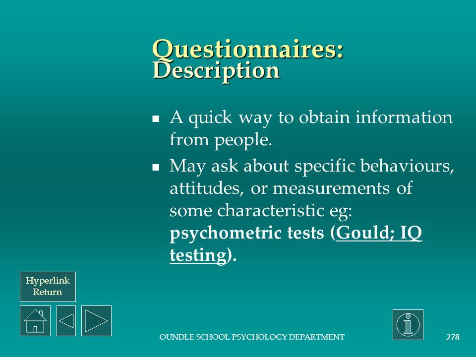 Questionnaires: Description