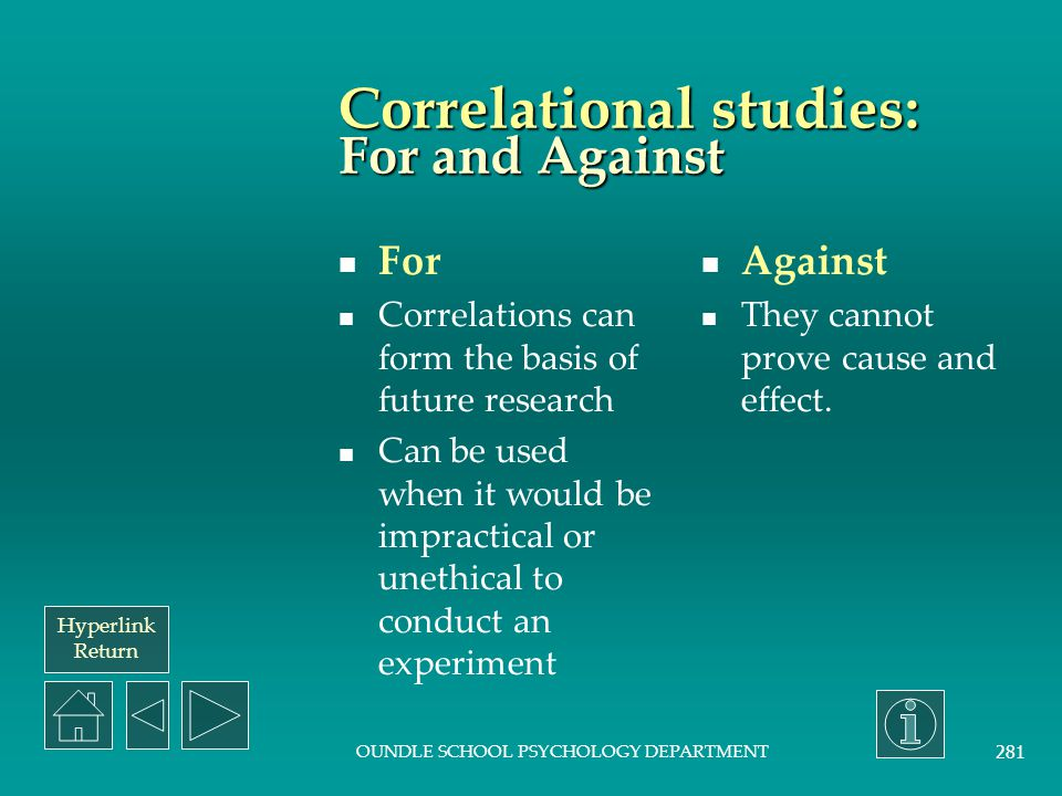 Correlational studies: For and Against