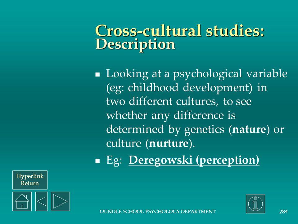 Cross-cultural studies: Description