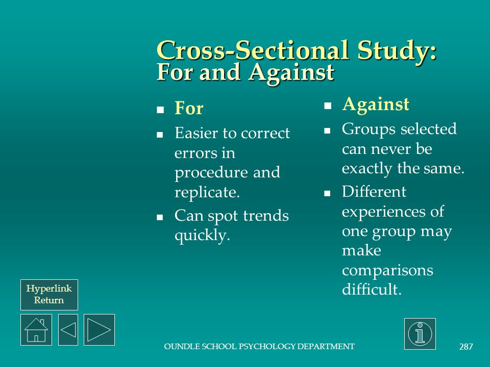 Cross-Sectional Study: For and Against