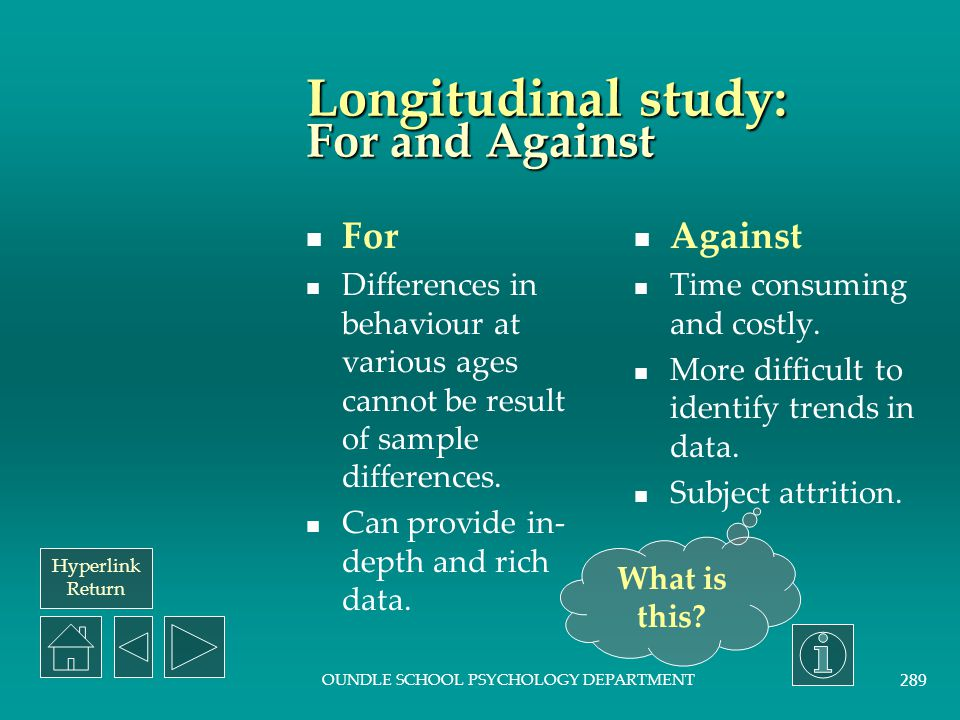 Longitudinal study: For and Against