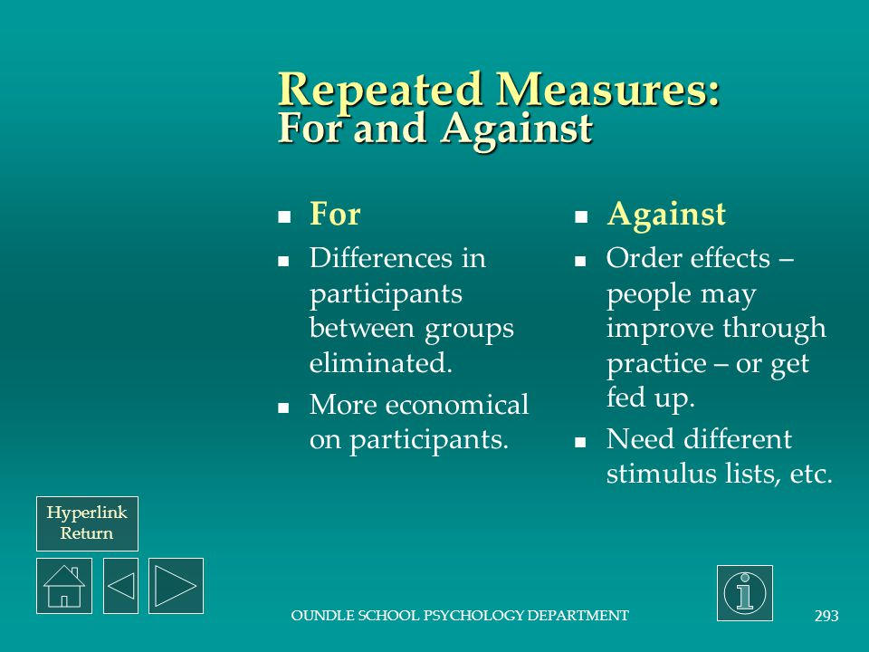 Repeated Measures: For and Against