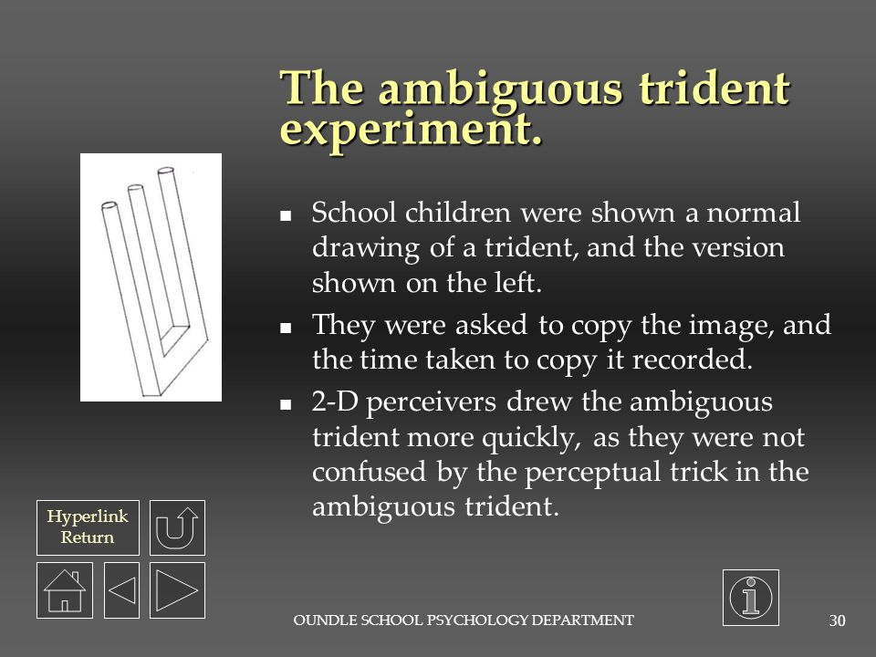 The ambiguous trident experiment.