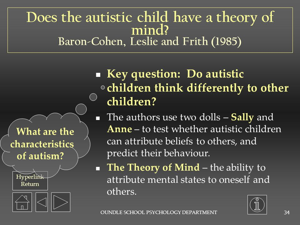 Does the autistic child have a theory of mind