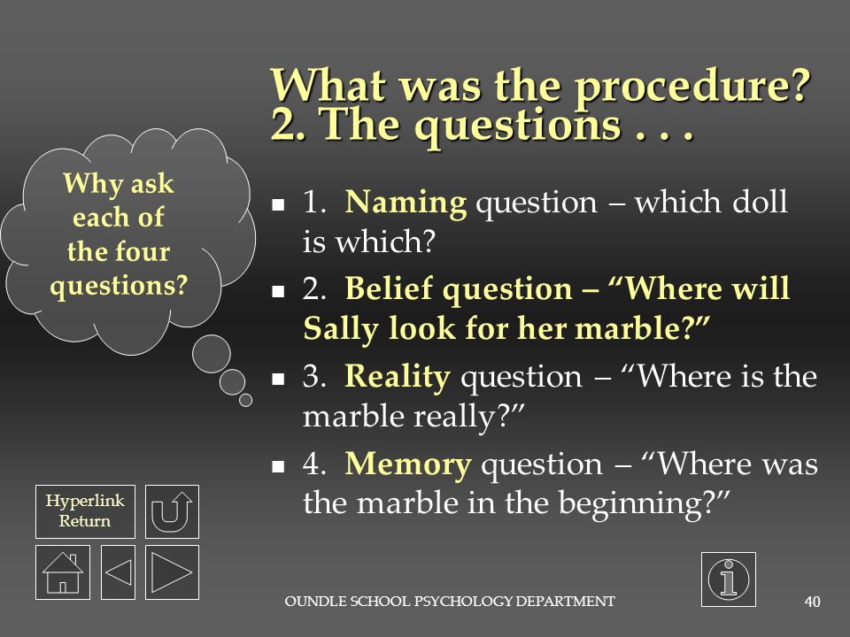 What was the procedure 2. The questions . . .