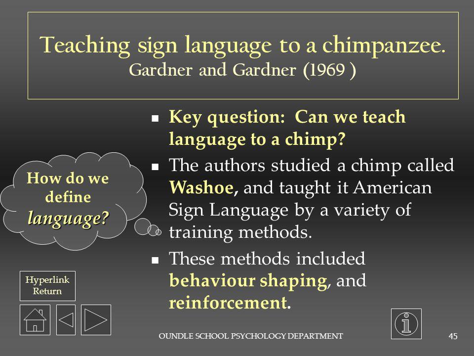 Teaching sign language to a chimpanzee. How do we define language