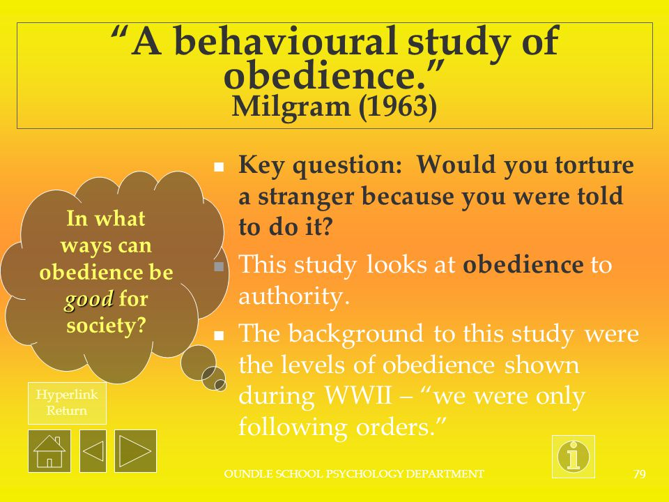 A behavioural study of obedience. Milgram (1963)