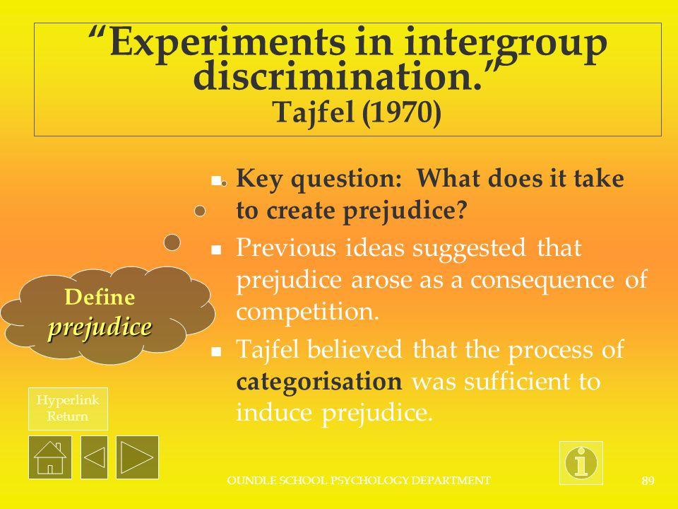 Experiments in intergroup discrimination. Tajfel (1970)