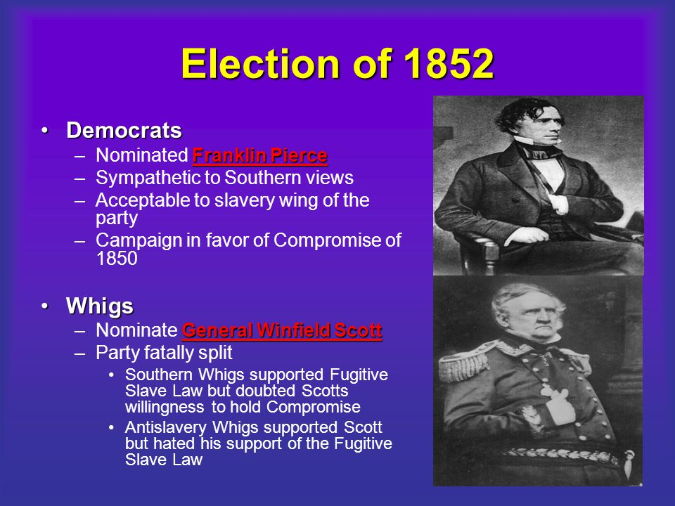 Election of 1852 Democrats Whigs Nominated Franklin Pierce
