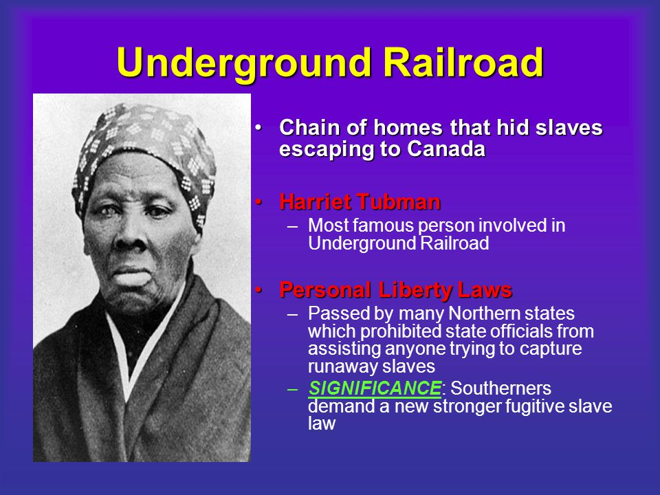 Underground Railroad Chain of homes that hid slaves escaping to Canada