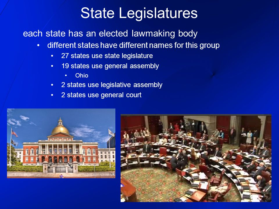 State Legislatures each state has an elected lawmaking body