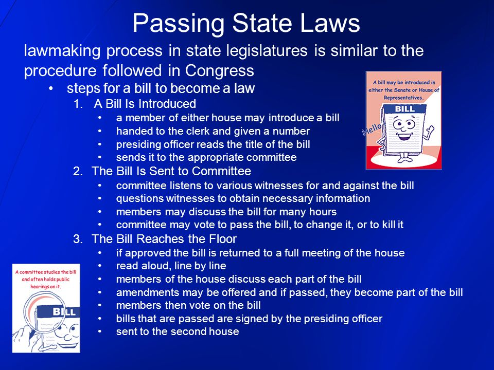 Passing State Laws lawmaking process in state legislatures is similar to the. procedure followed in Congress.