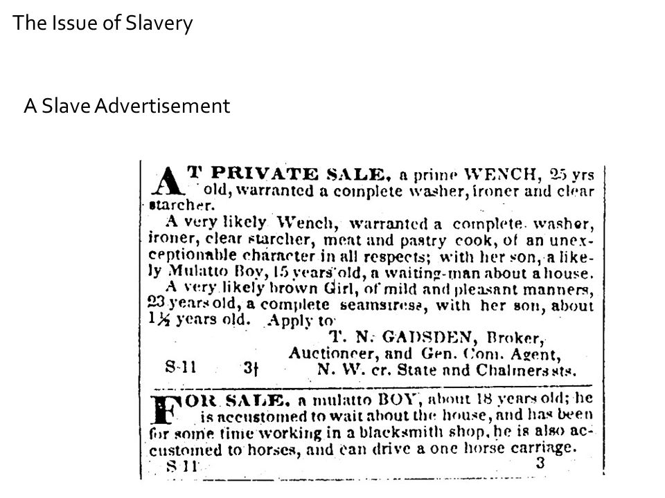 The Issue of Slavery A Slave Advertisement