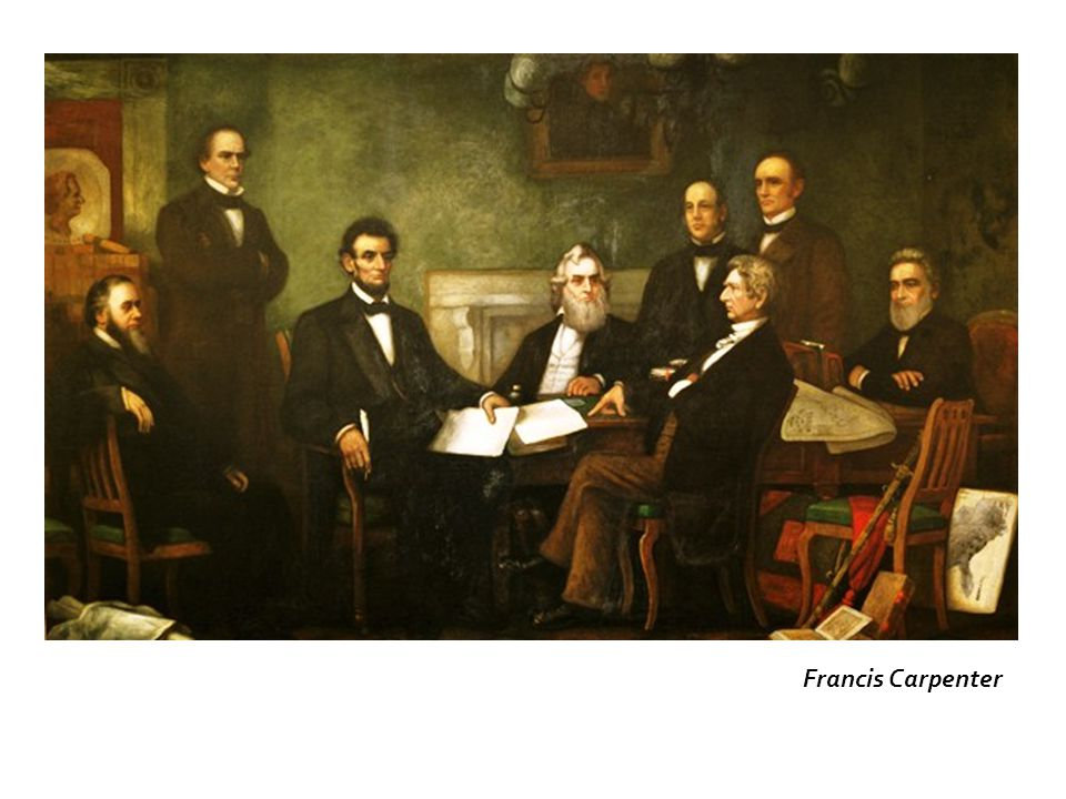 July 22 Cabinet meeting called by Lincoln to reveal his goal: to read to them his draft of the Emancipation Proclamation