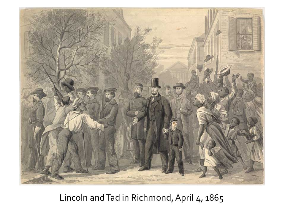 Lincoln and Tad in Richmond, April 4, 1865