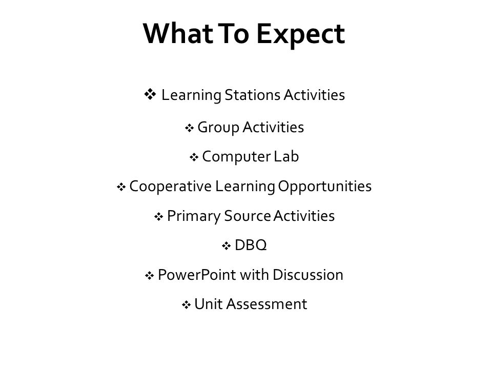 What To Expect Learning Stations Activities Group Activities