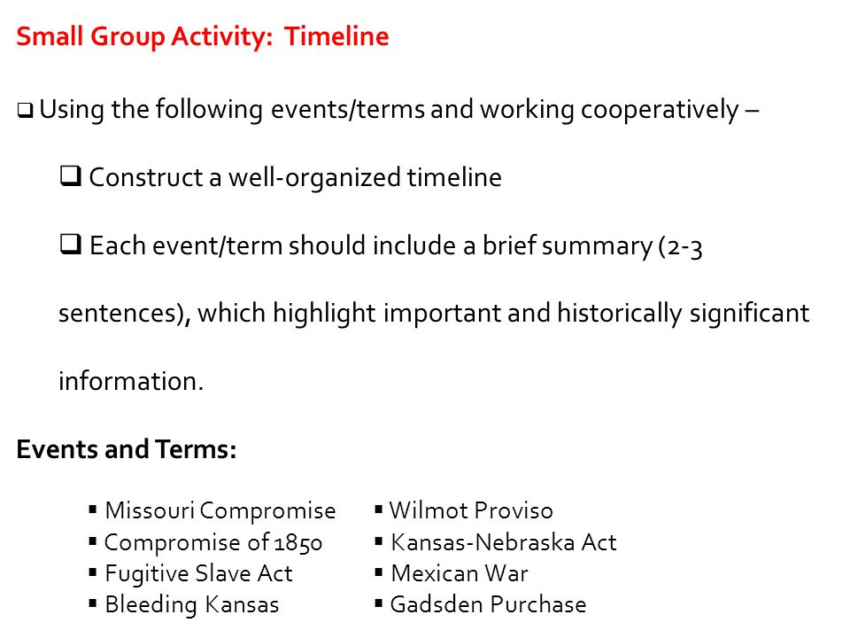 Small Group Activity: Timeline