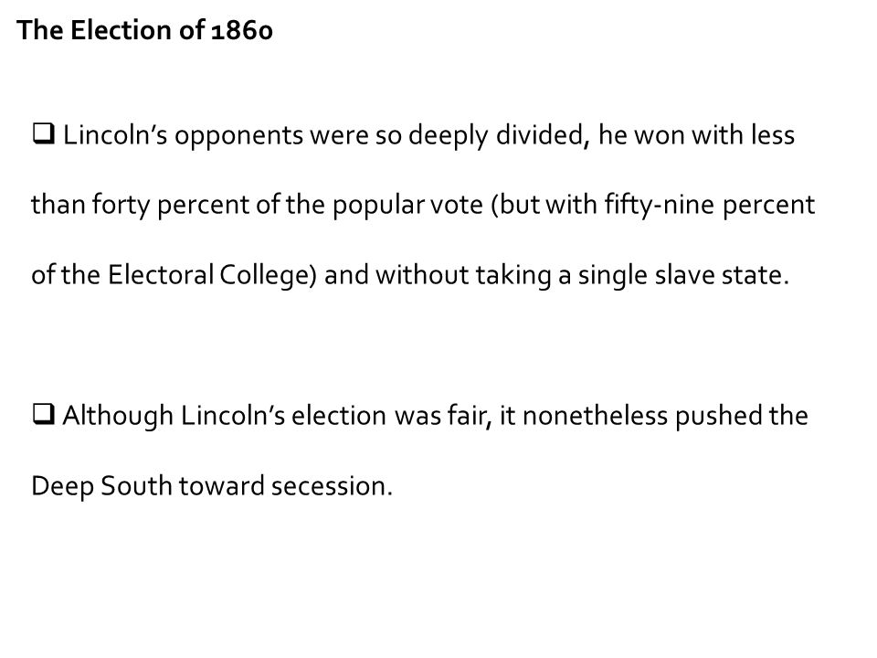 The Election of 1860