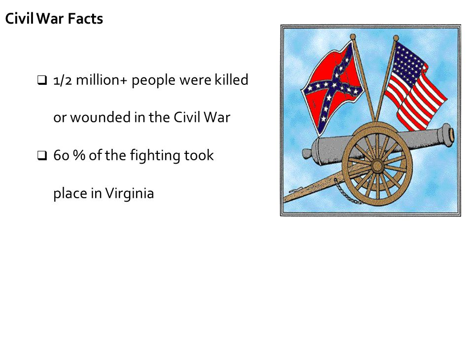 Civil War Facts 1/2 million+ people were killed or wounded in the Civil War.