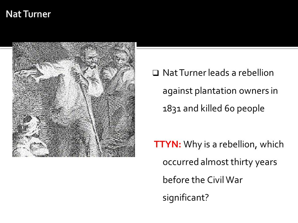 Nat Turner Nat Turner leads a rebellion against plantation owners in 1831 and killed 60 people.