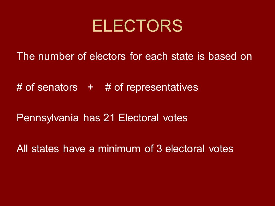 ELECTORS The number of electors for each state is based on