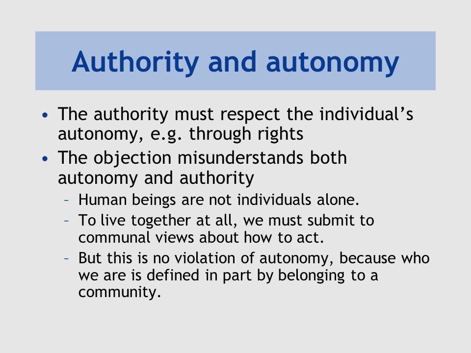 Authority and autonomy