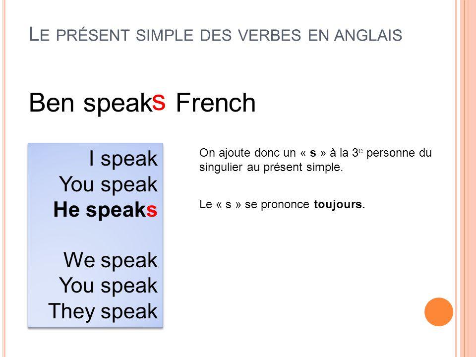 Le présent simple des verbes en anglais
