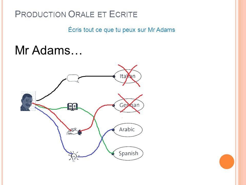 Production Orale et Ecrite