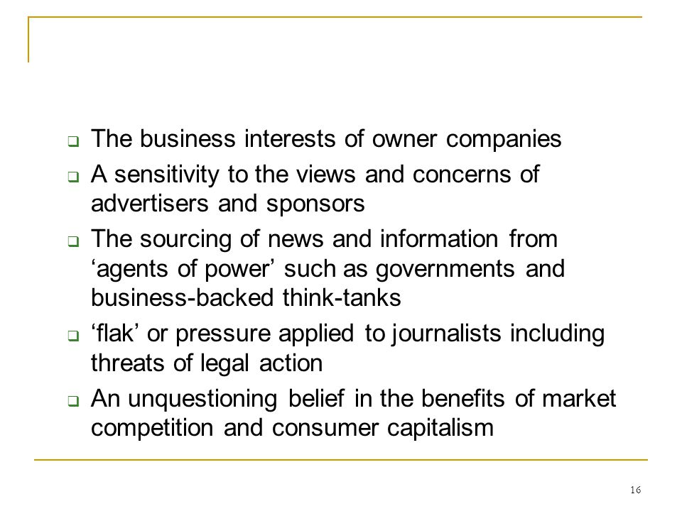 The business interests of owner companies