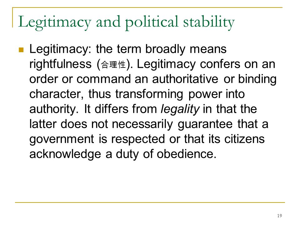 Legitimacy and political stability