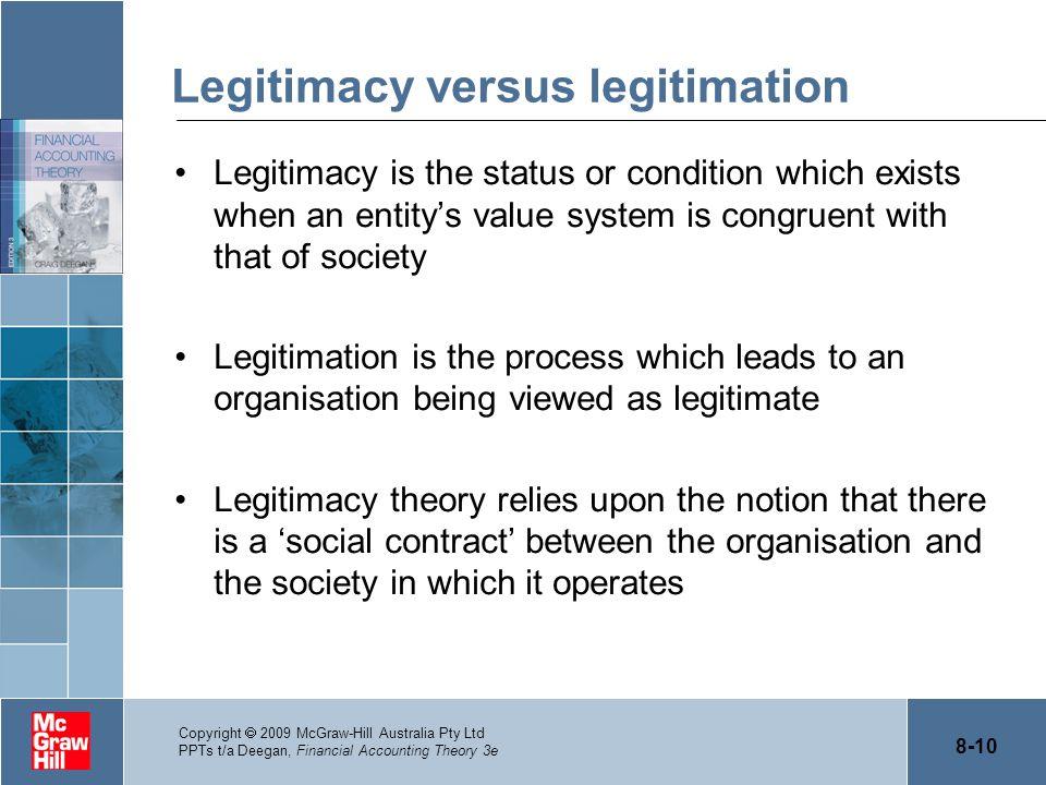 Legitimacy versus legitimation