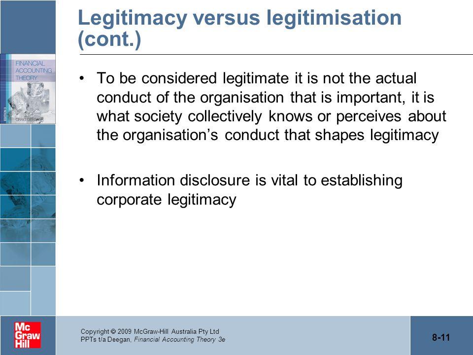 Legitimacy versus legitimisation (cont.)