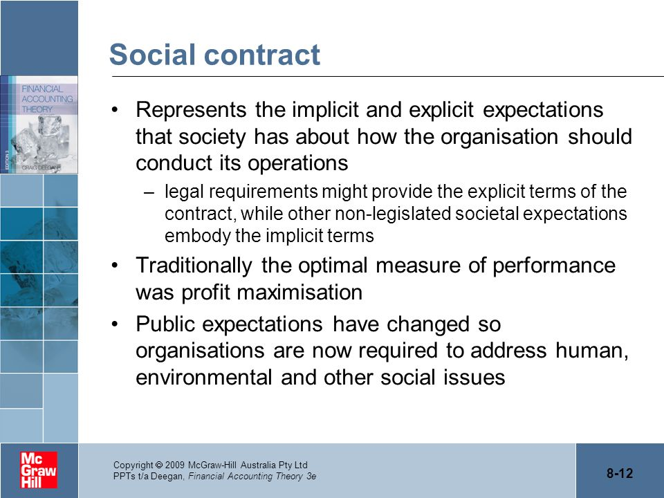 Social contract Represents the implicit and explicit expectations that society has about how the organisation should conduct its operations.