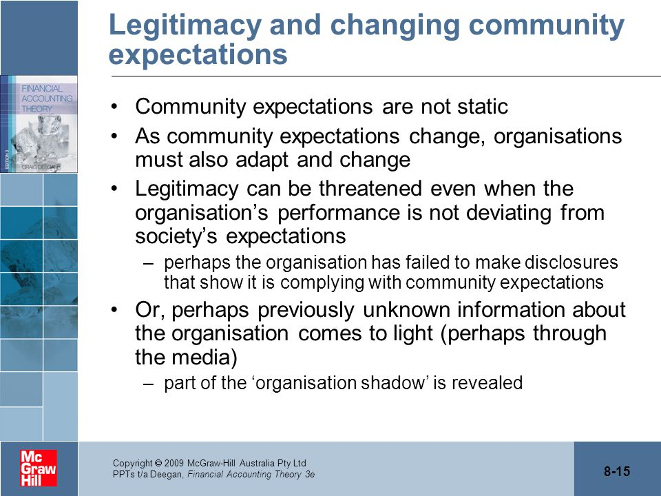 Legitimacy and changing community expectations