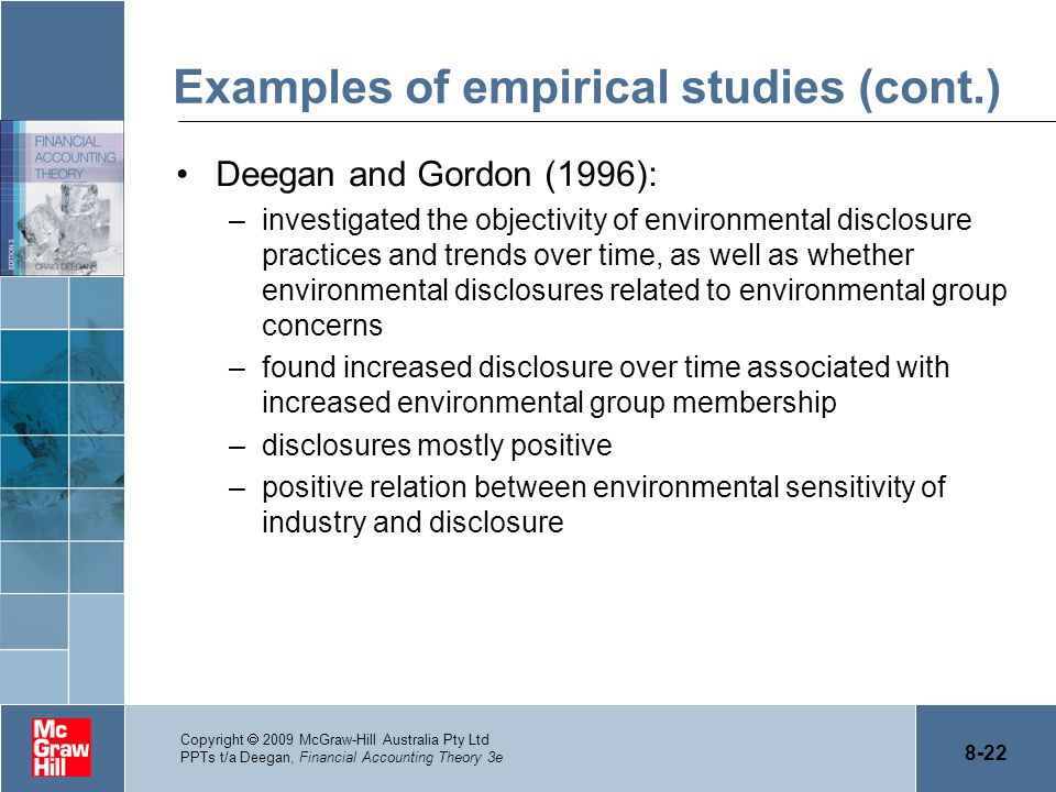 Examples of empirical studies (cont.)