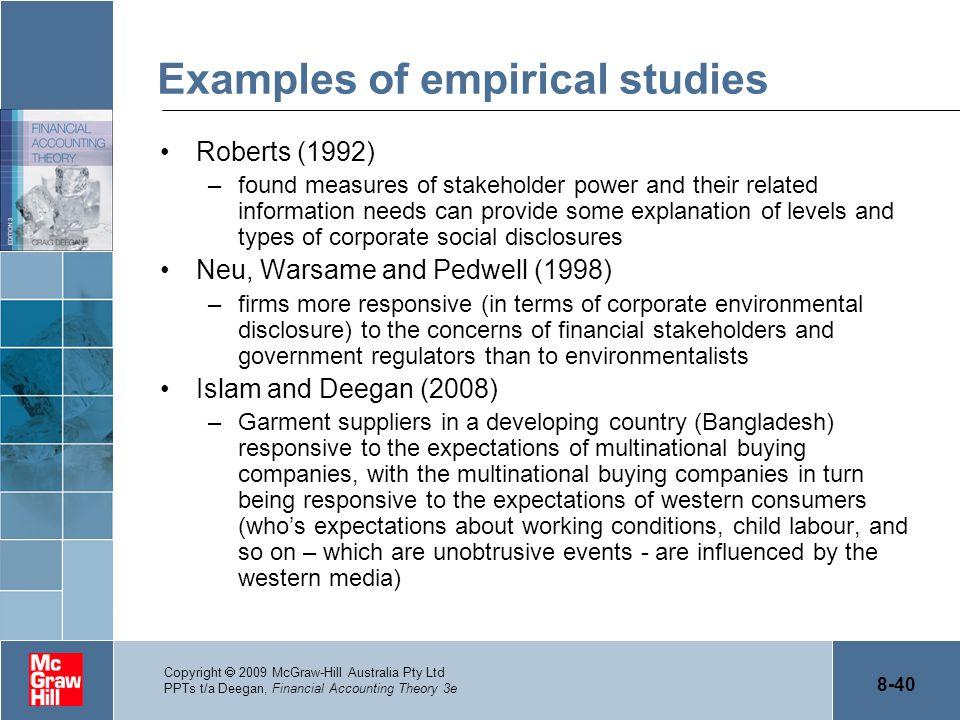 Examples of empirical studies