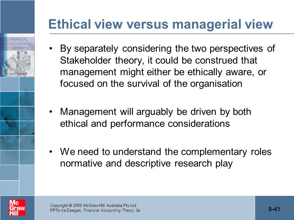 Ethical view versus managerial view