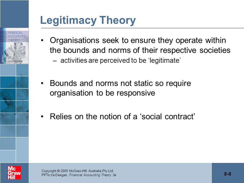 Legitimacy Theory Organisations seek to ensure they operate within the bounds and norms of their respective societies.