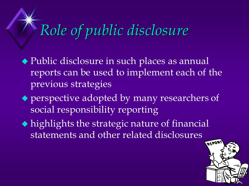 Role of public disclosure
