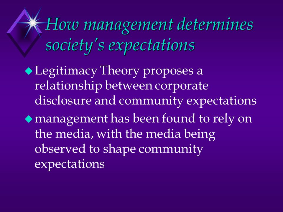 How management determines society's expectations