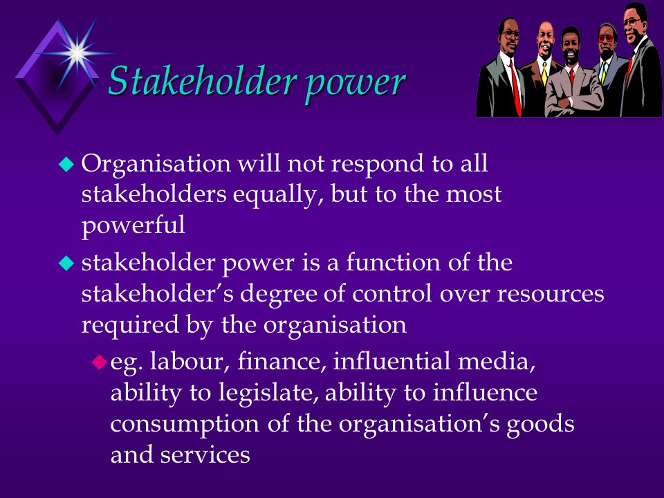 Stakeholder power Organisation will not respond to all stakeholders equally, but to the most powerful.