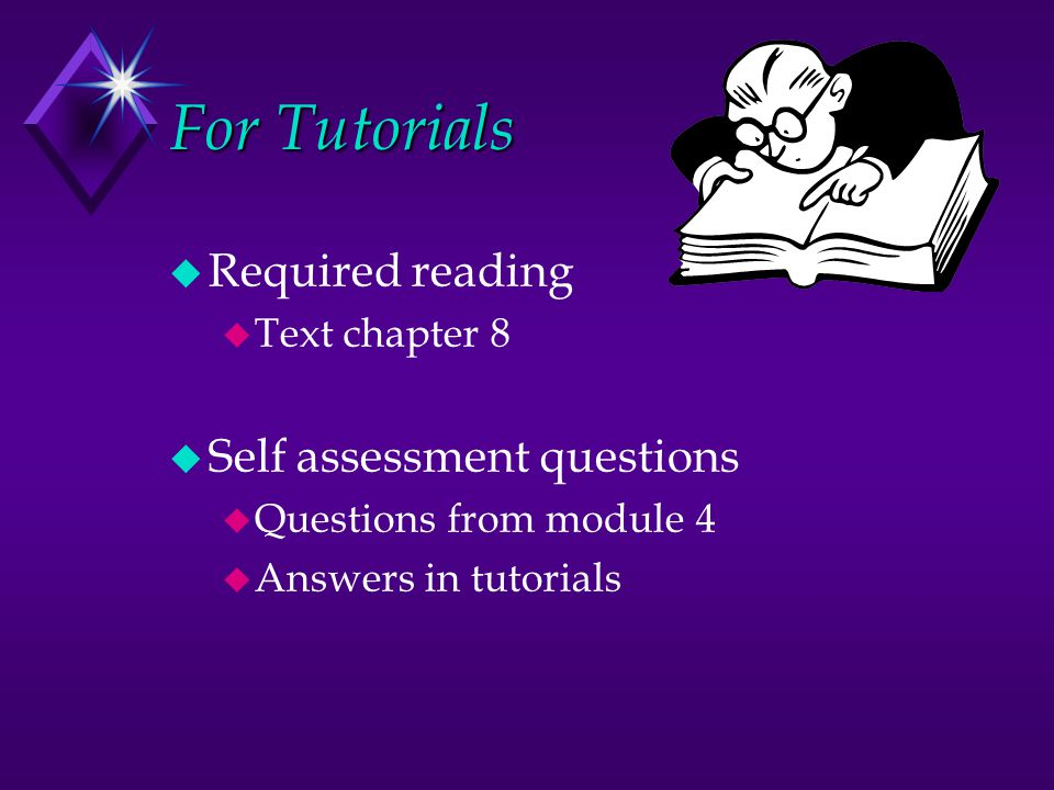 For Tutorials Required reading Self assessment questions