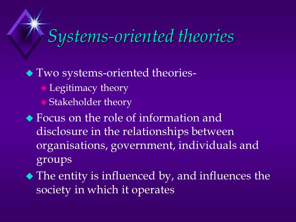 Systems-oriented theories