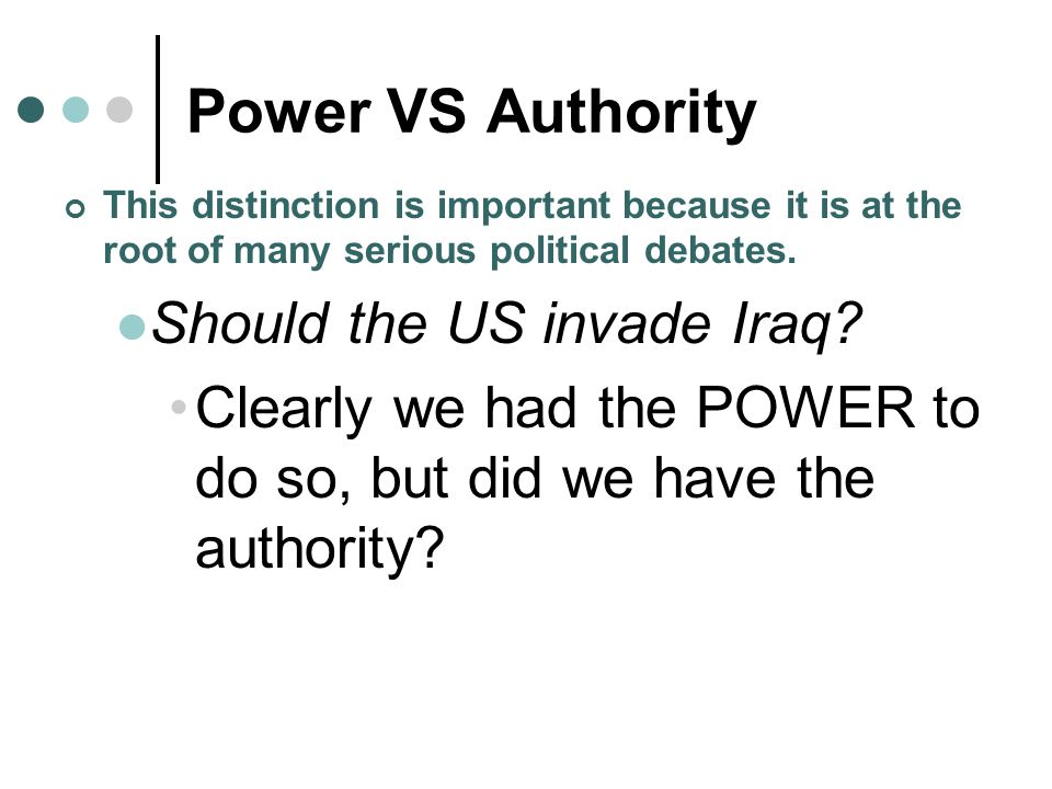 Power VS Authority Should the US invade Iraq