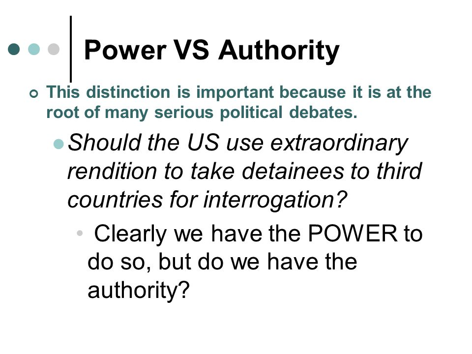 Power VS Authority This distinction is important because it is at the root of many serious political debates.