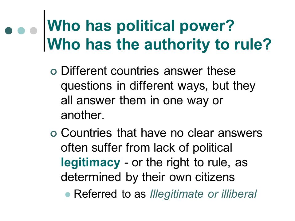 Who has political power Who has the authority to rule