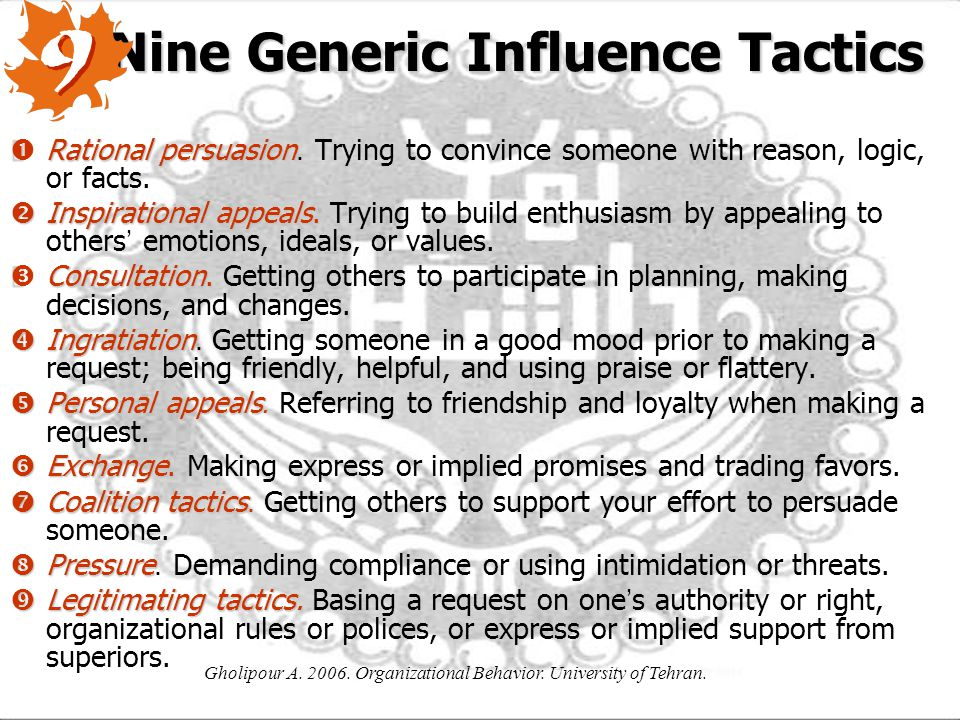 Nine Generic Influence Tactics