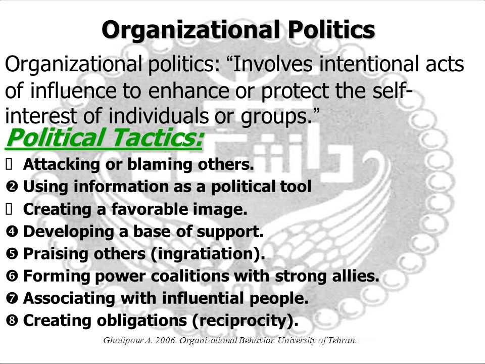 political tactics workplace As individual antecedents of workplace influence tactics esra ati̇lla bal psychology department acıbadem university  on political tactics will be stronger than.