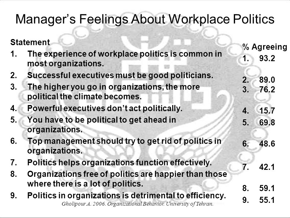 Manager's Feelings About Workplace Politics