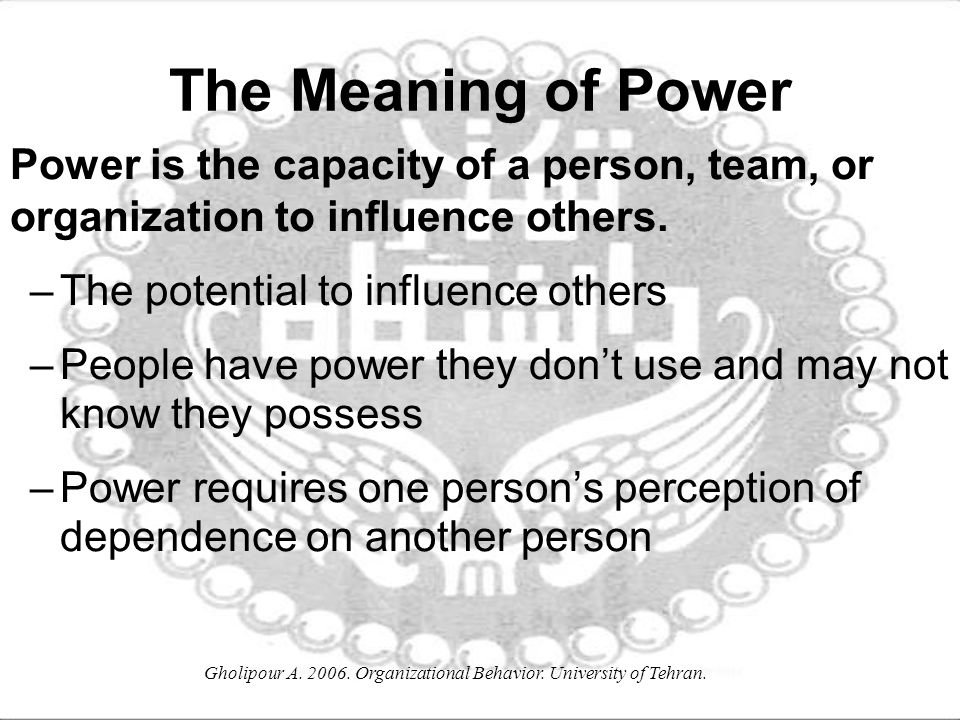 the importance of power and politics in organizations Power, authority, and influence are all part of political organization power is the ability to assert one's will over others, forcing them to act in accordance with it despite their own desires.
